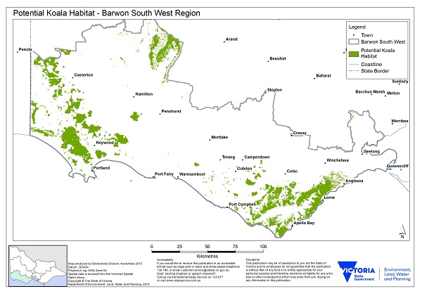 Map showing potential habitat for koalas in the Barwon south west region. Large areas near Heywood and Portland extending to the South Australian border. Large areas around Lorne and Apollo Bay. Another area north of Hamilton, west of Ararat.
